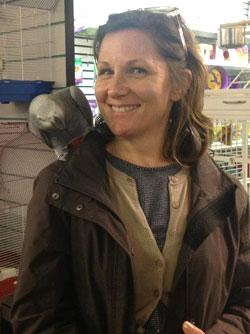 Sara with African Grey Parrot